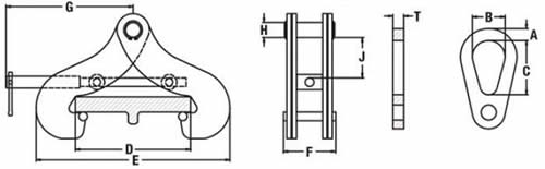 Beam Flange Clamps model BFC diagram